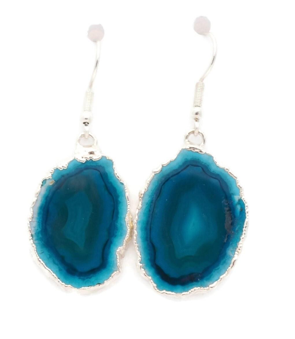 Teal Blue Agate Earrings Raw Stone Earrings Natural