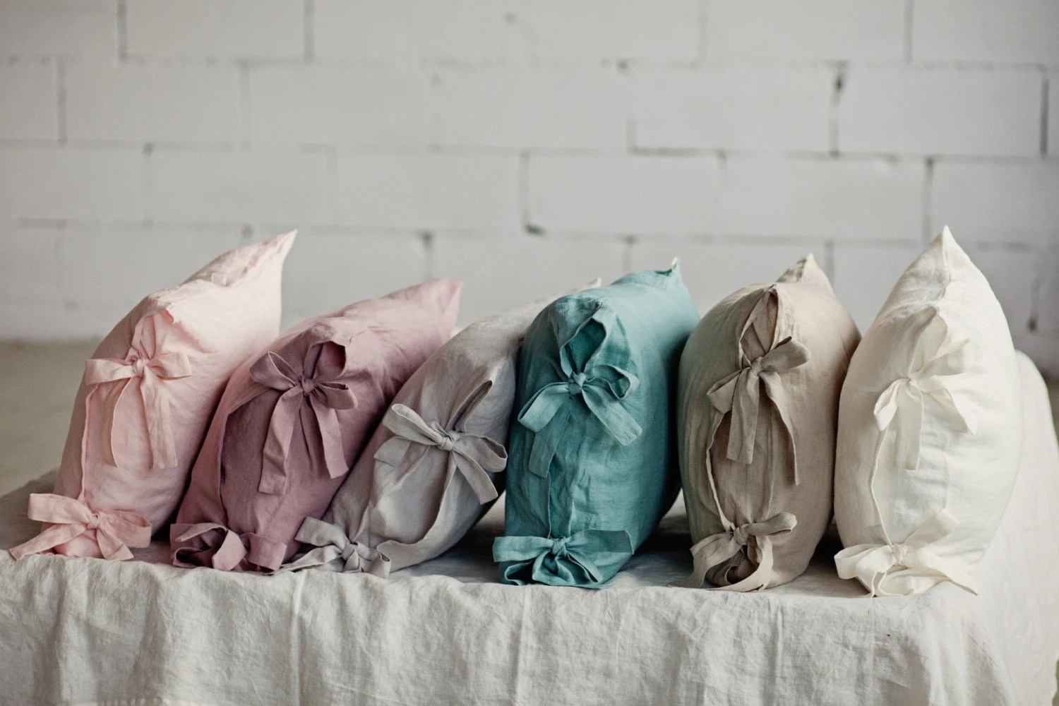 Linen pillowcases with ribbons Bow tie linen pillow cover