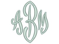 3 Size End Scroll Monogram 3 Letters Embroidery Font BX fonts
