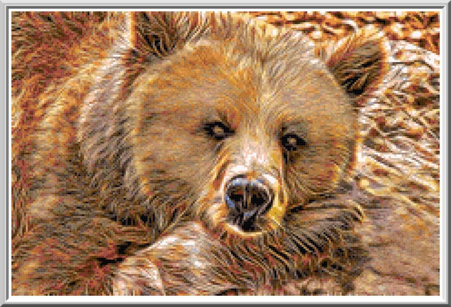 Grizzly Bear Fractal Cross Stitch Printable Needlework Pattern