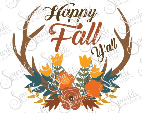 happy fall yall cut file antler