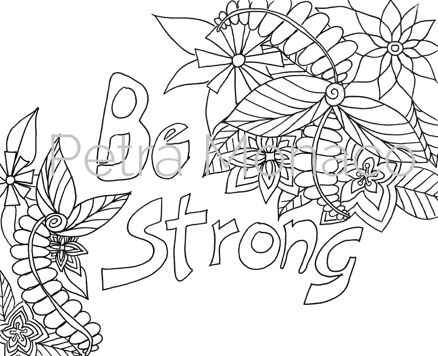 Be Strong Printable Affirmation Coloring Page