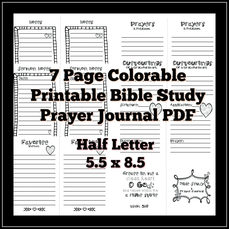 Half Letter 5.5x8.5 Bible Study Prayer Journal Colorable