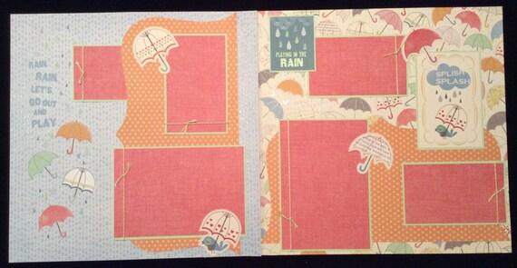 Premade TwoPage Scrapbook Layout Rainy Day Layout