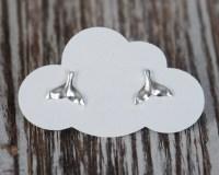 Sterling Silver Whale Tail Earrings Stud Earrings 8x10mm
