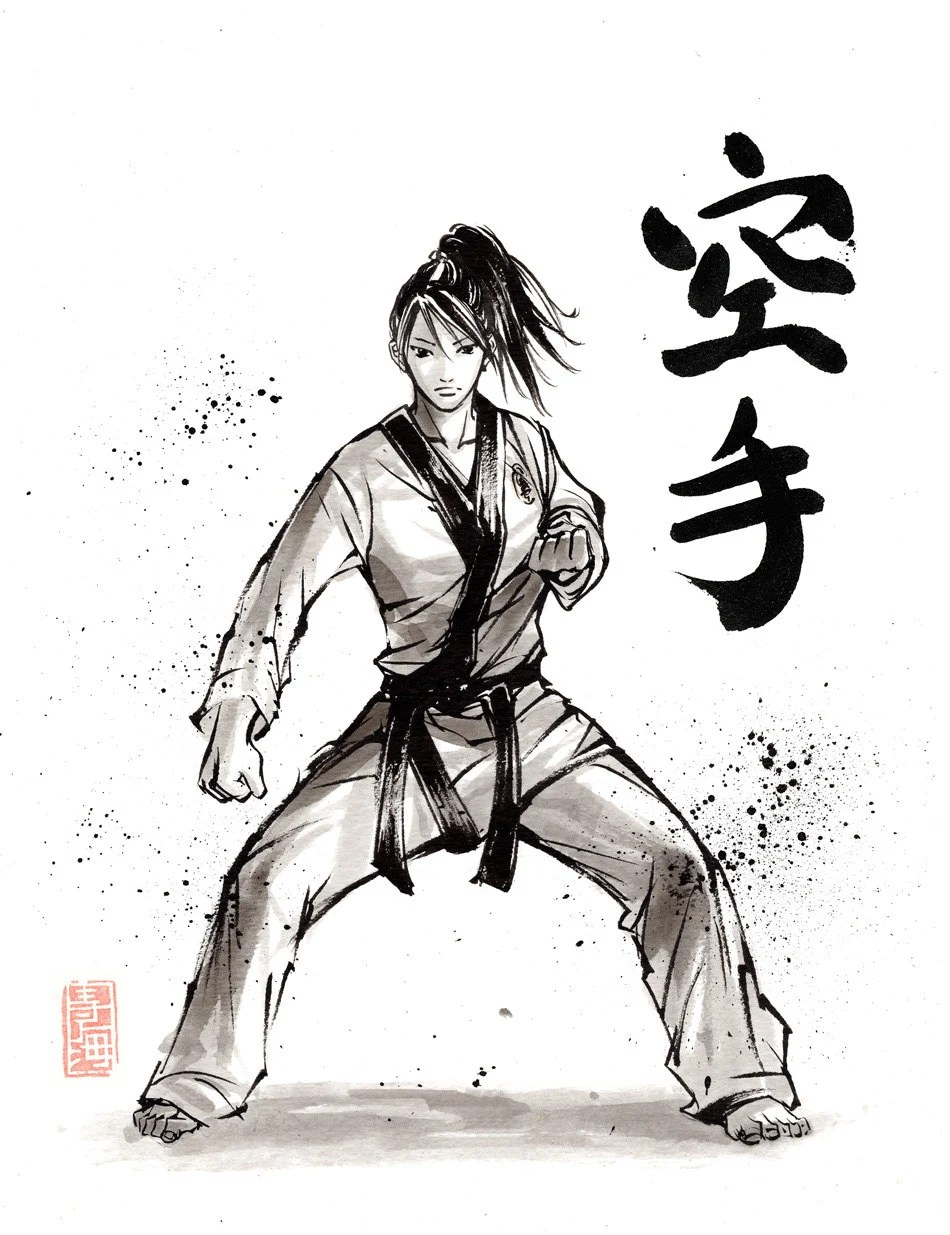 PRINT Karate Girl Japanese Calligraphy And Painting By Mycks