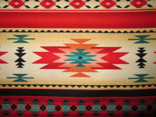 Native American Traditional Navajo Red Teal Border Cotton