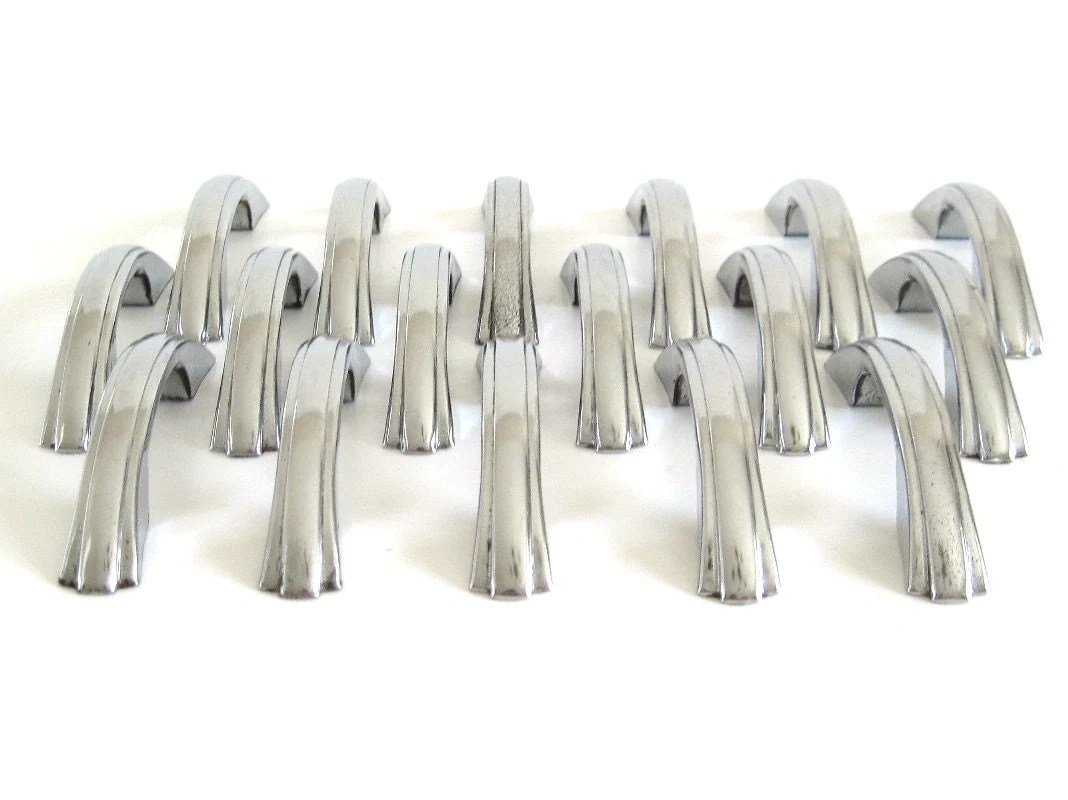 Vintage Drawer Pulls Chrome Cabinet Hardware by