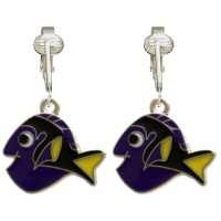 Purple Fish Clip On Earrings for Girls Kids Ladies w