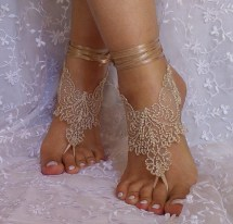 Beige Burlap Little Bit Gold Lace Barefoot Sandal Free Ship