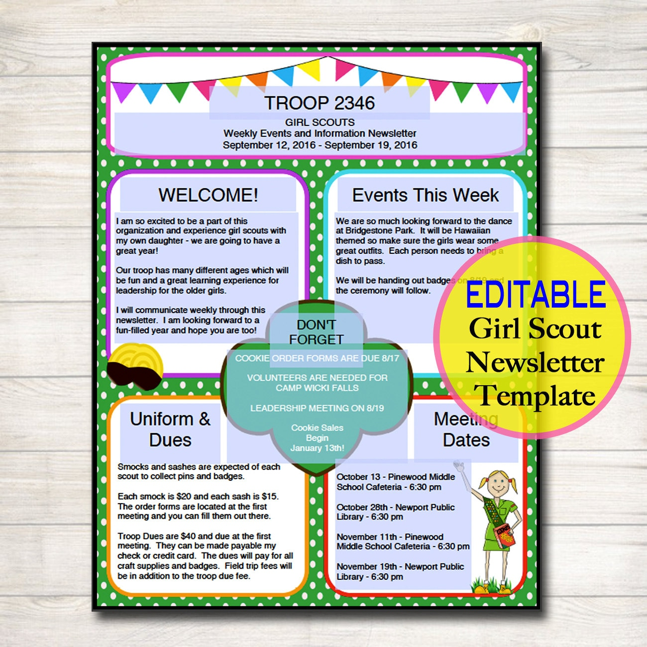 Girl Scouts Newsletter Template Instant Editable Troop
