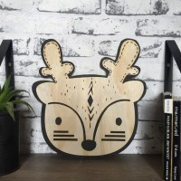 Tribal boho deer plywood wall hanging monochrome bohmemian