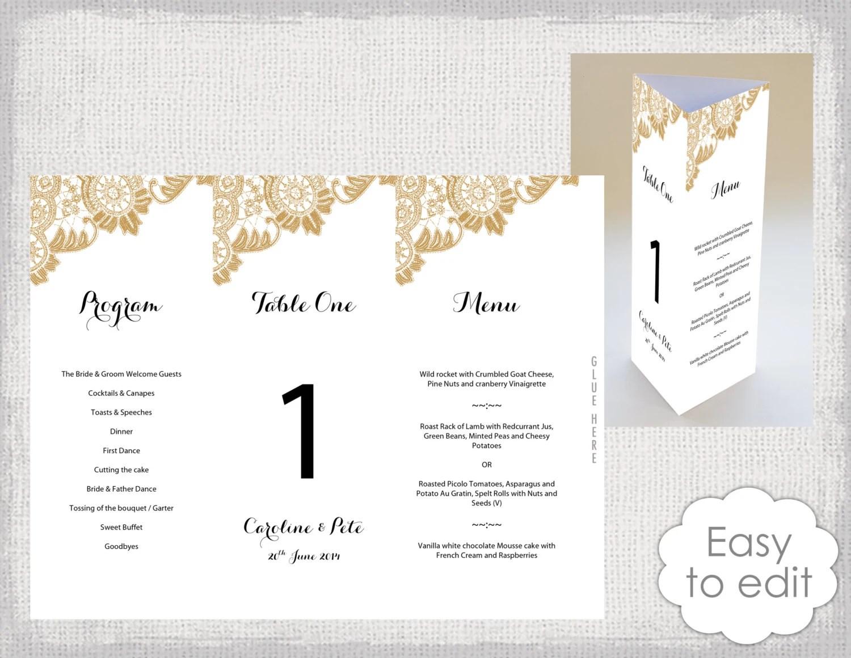 Wedding menu cards template Gold menu templates  table number