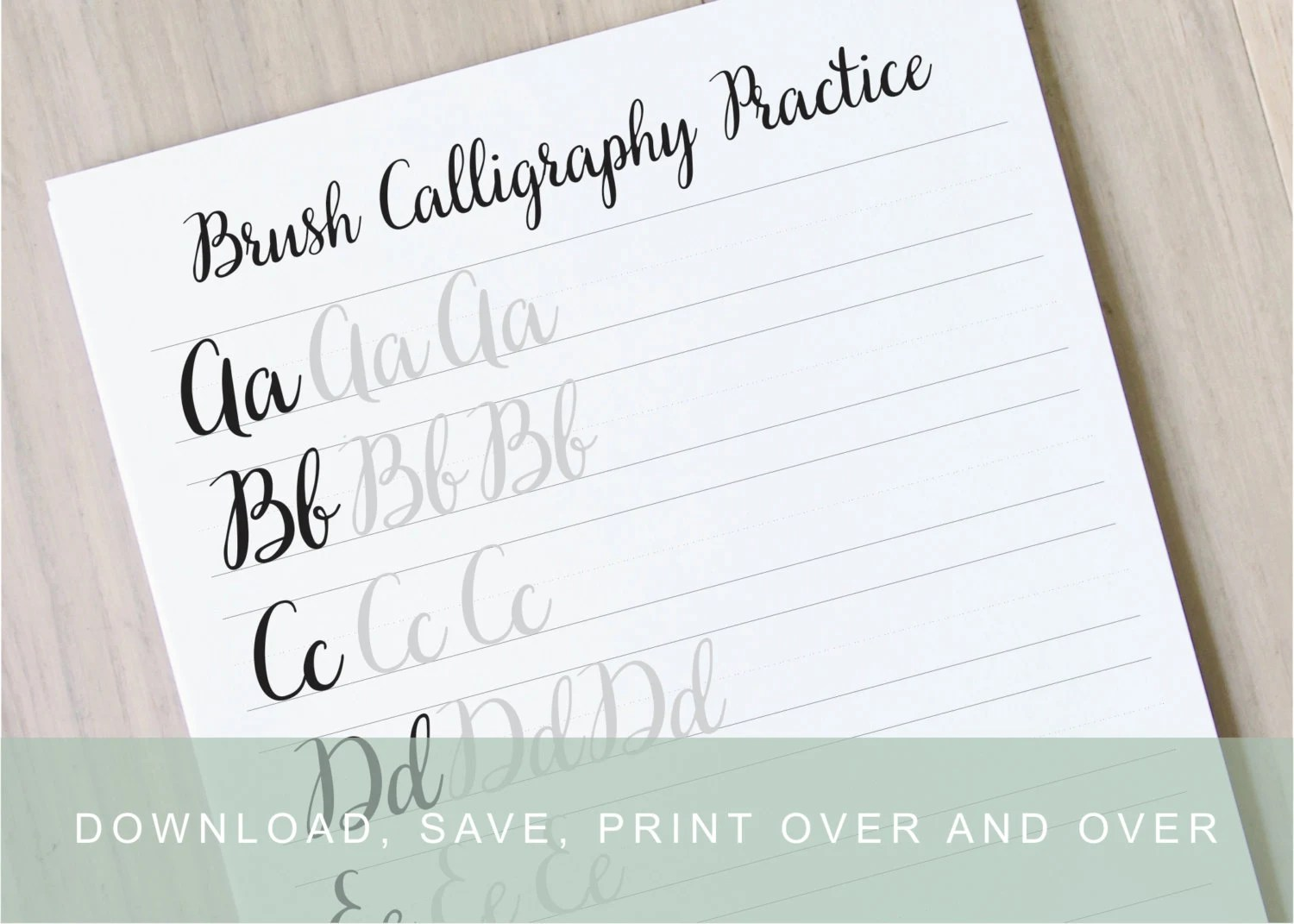 Brush Lettering Worksheets Calligraphy Tutorial Alphabet Practice Guides Learn Calligraphy