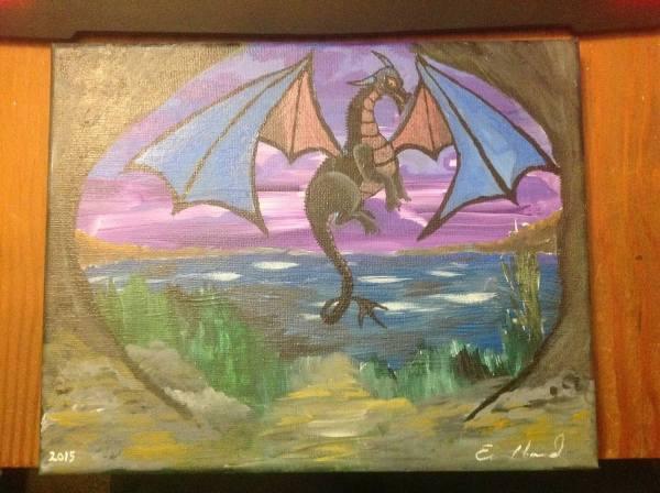 8x10 Acrylic Painting Flying Dragon