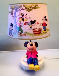 Vintage Mickey Mouse Lamp and Shade with Nightlight 1981 Works