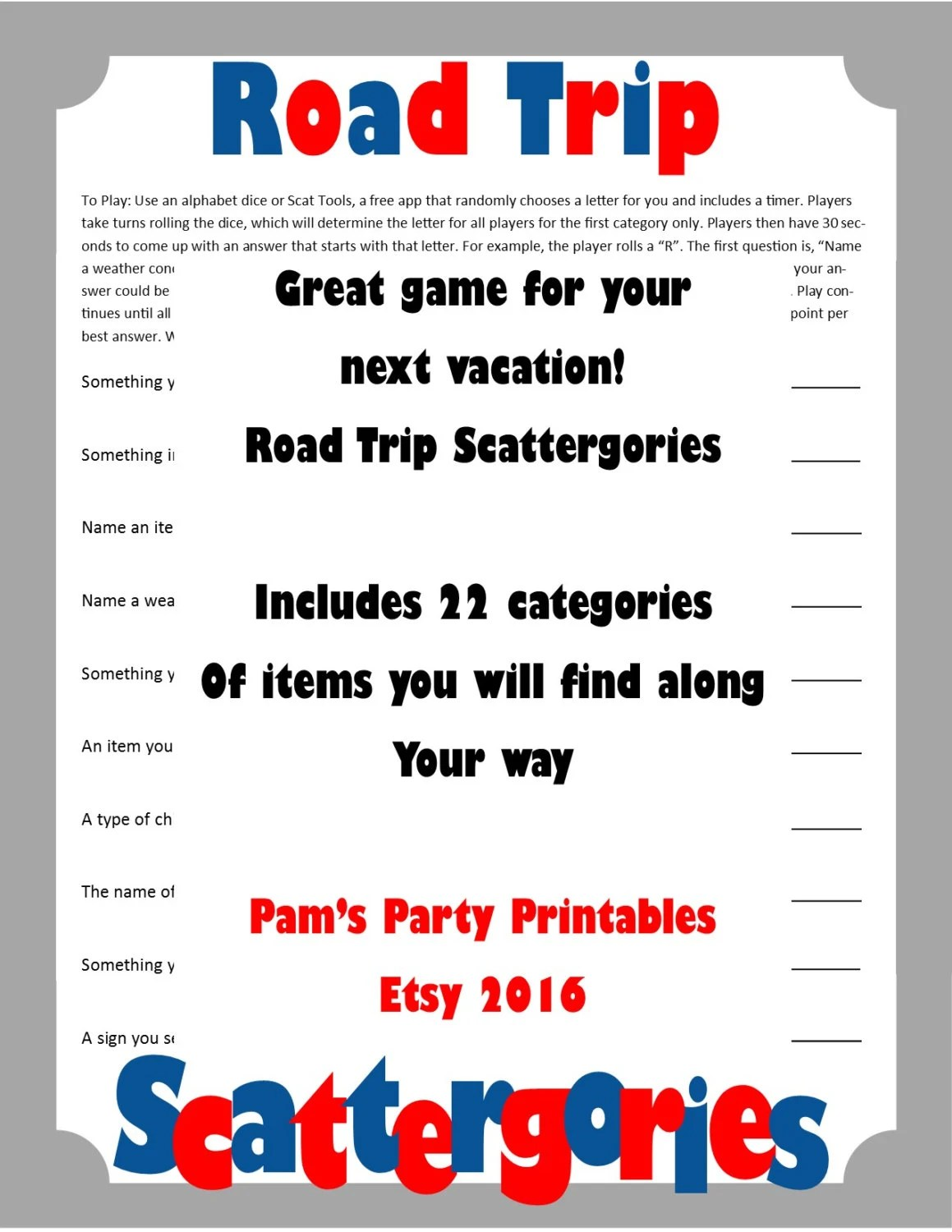 Printable Travel/Road Trip Game Cards for Pictionary or