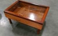 wood shadow box coffee table military display case walnut