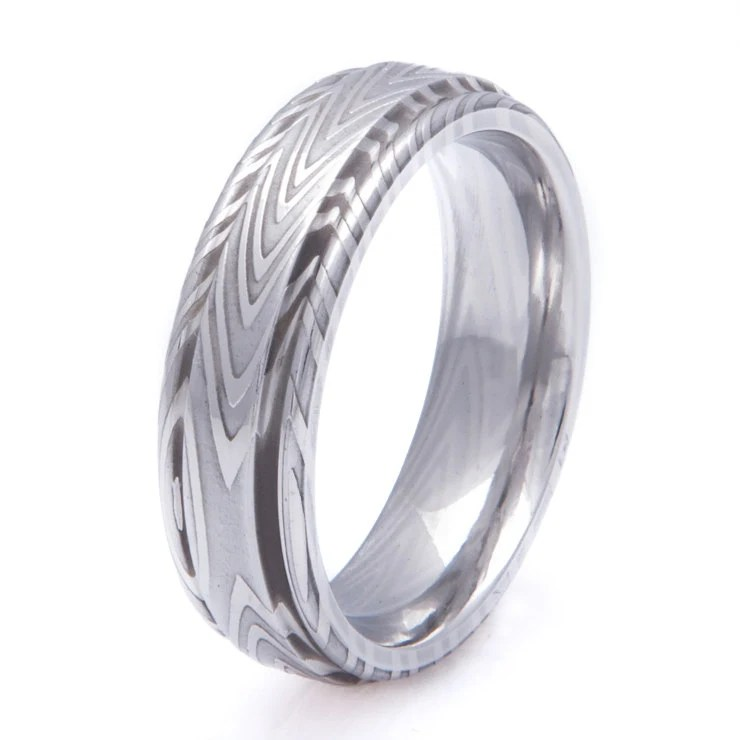 Mens Damascus Steel Wedding Ring With Grooved Edge Zebra