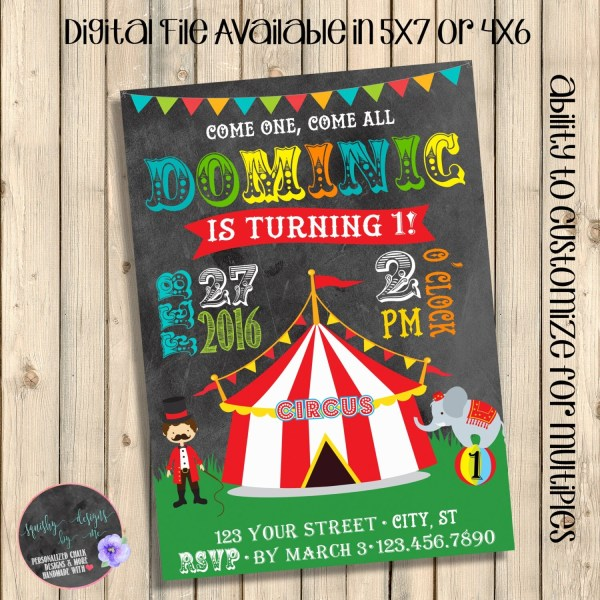 Circus Birthday Invitation Carnival Invite