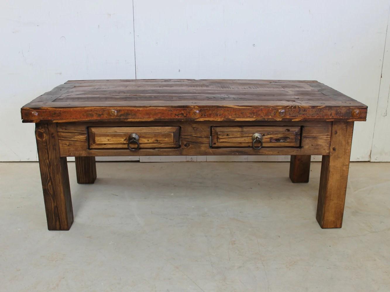 Rustic Coffee Table Reclaimed Wood Southwestern Old