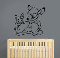 Bambi Wall Decal Removable Vinyl Sticker Cartoon Deer Art