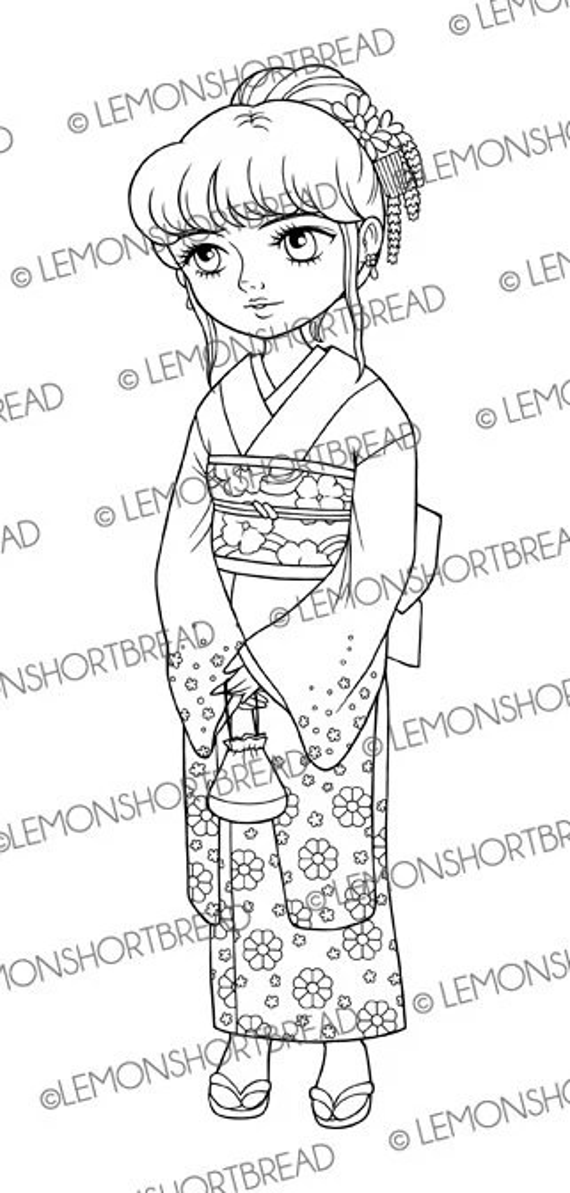Digital Stamp Kimono Japanese Girl, Digi Download, Spring