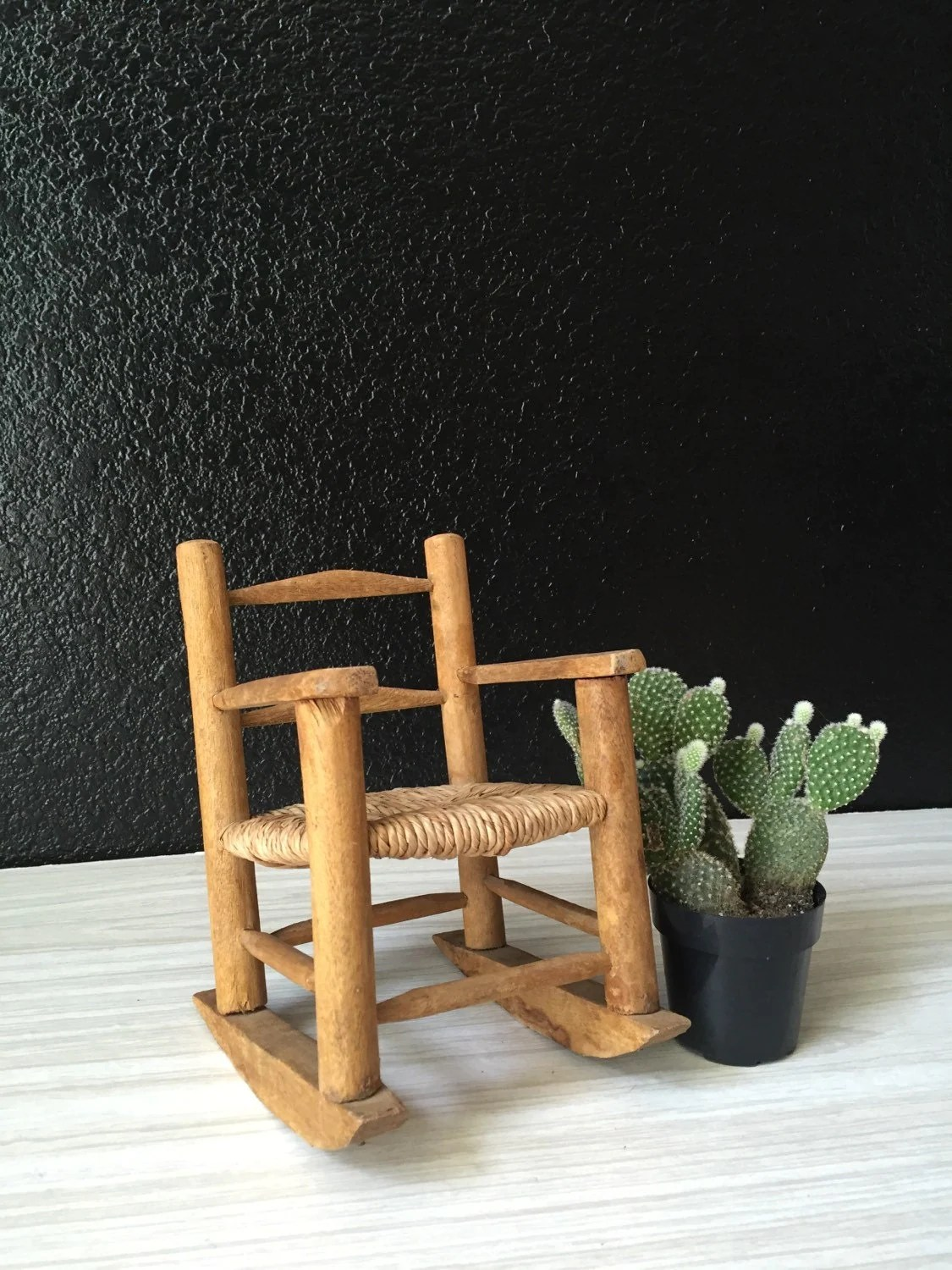 chair planter stand green 2005 vintage miniature doll wicker wood rocking plant