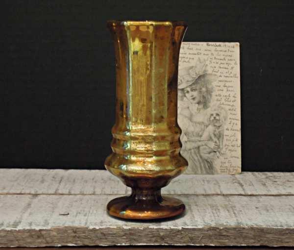 Vintage Gold Mercury Glass Vase Candle Holder Goblet