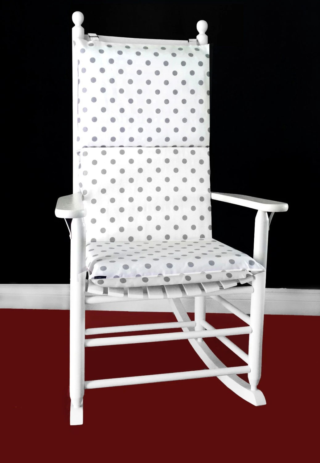 rocking chair cushion covers la z boy big and tall executive office cover white grey polka dot