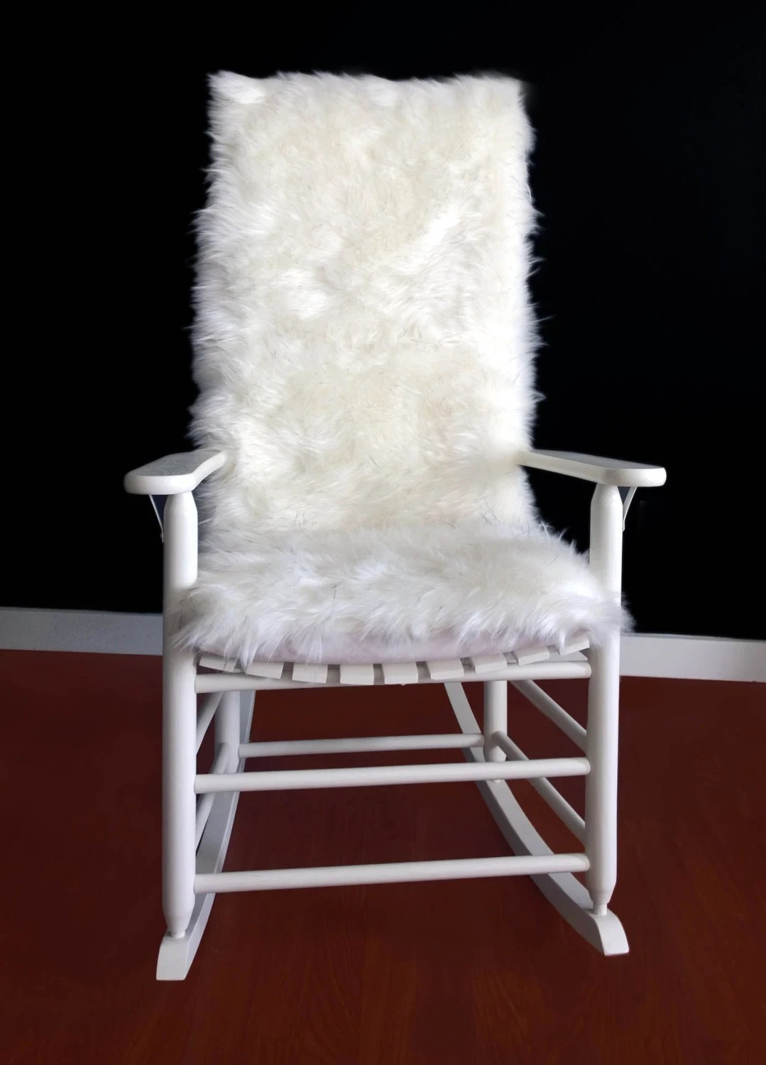 faux fur chair cover hickory sleeper sofas rocking cushion white black speckled
