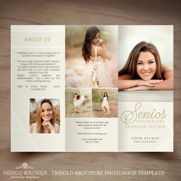 Senior Photography Trifold Brochure Template Client Welcome
