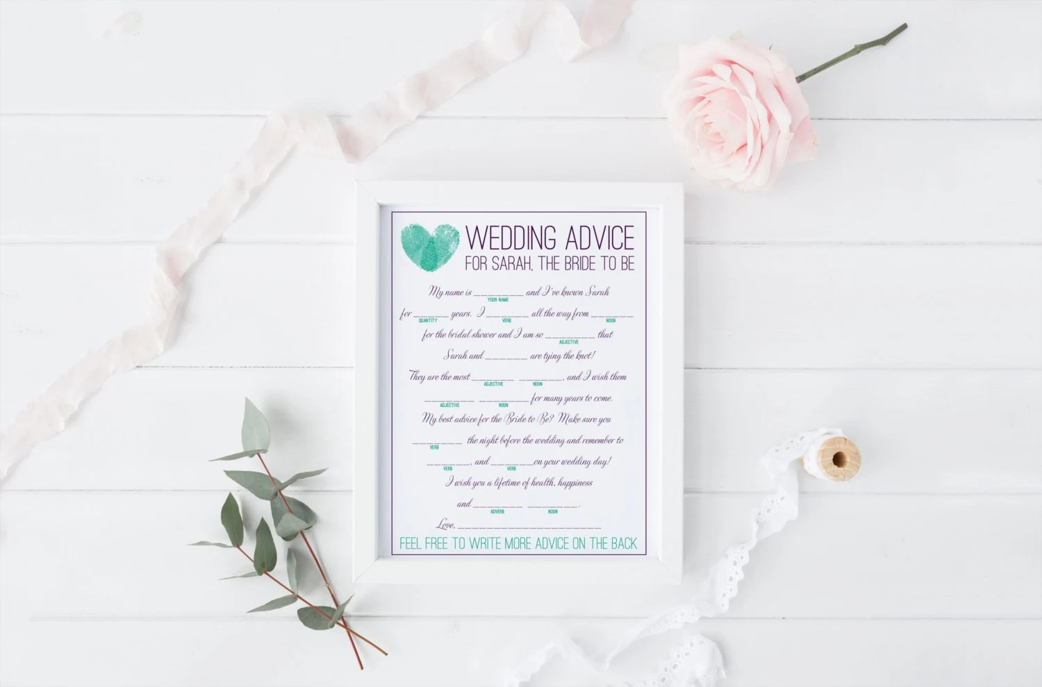 DIY Printable Bridal Shower Mad Libs Keepsake Game Modern