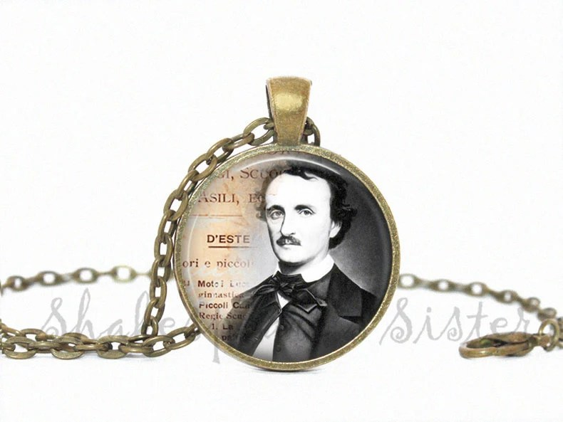 Edgar Allan Poe Necklace Art Pendant by ShakespearesSisters