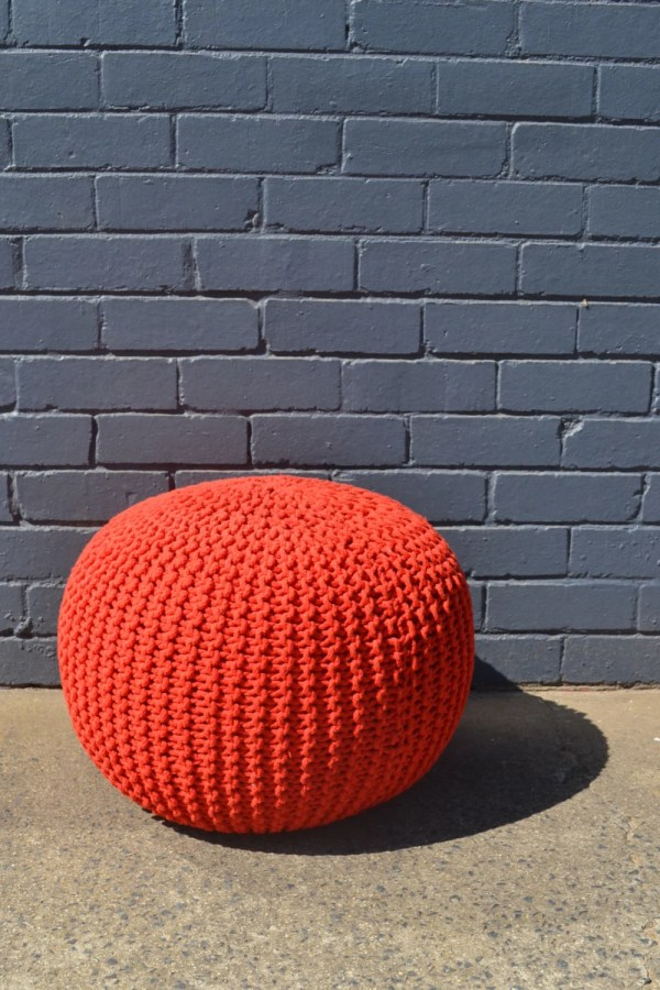Vintage Pouffe Footstool Ottoman Retro Red Rope Funky Foot