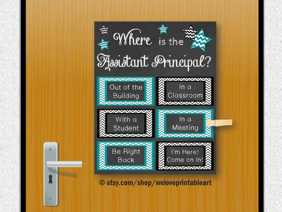 Assistant Principal Gift Idea Office Door Sign Printable