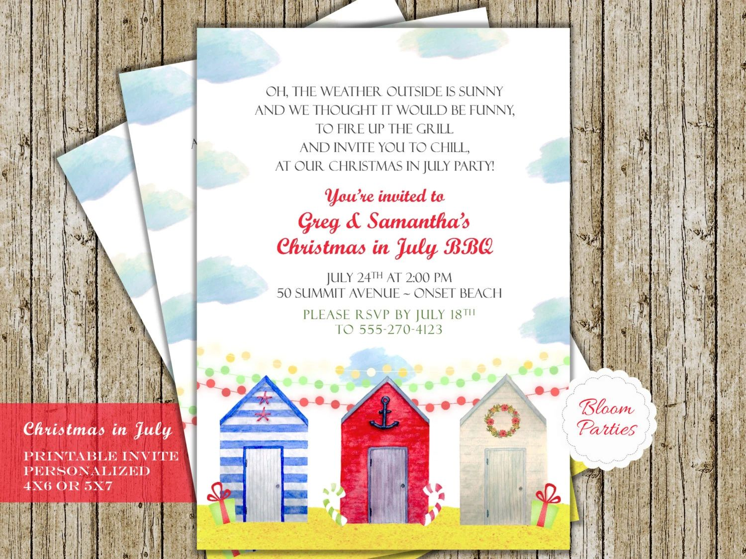 christmas pool party invitations