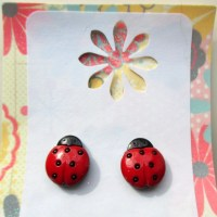 Ladybug earrings-clip on earrings-girls dress up jewelry-bug