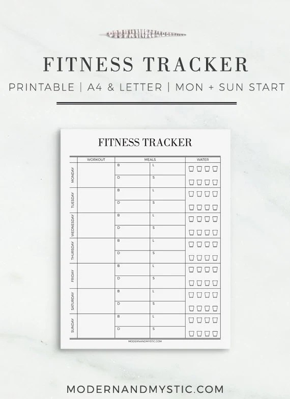 Fitness Tracker Printable Fitness Tracker Fitness
