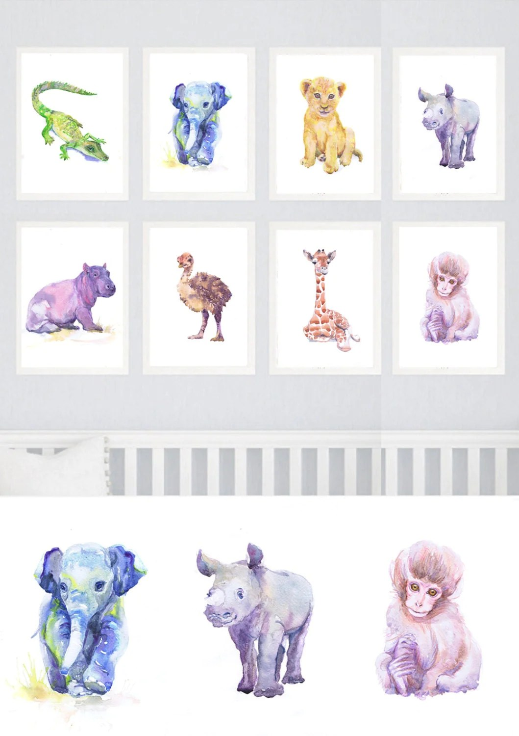 Baby Animals Nursery Set Of 8 Prints Watercolor Painting Boy