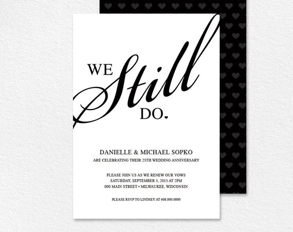 Vow Renewal Invitation We Still Do Black and