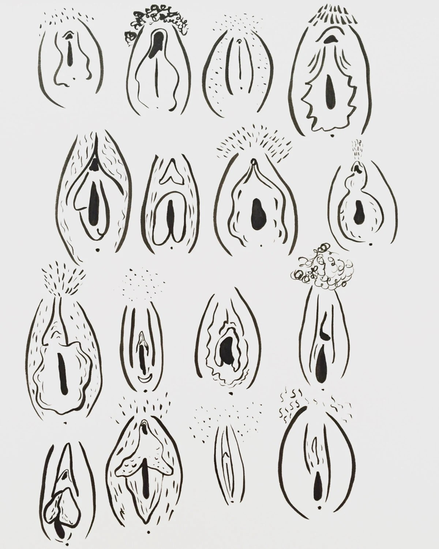 16 Vaginas // 11 X 14 Vagina Print // Feminist by