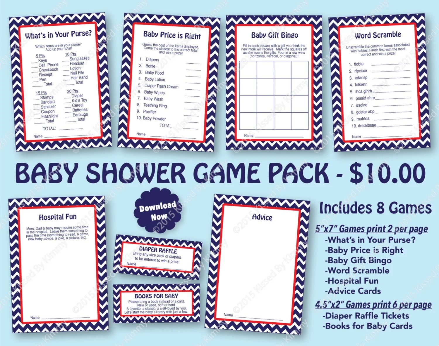 Nautical Baby Shower Game Pack Red Navy 70 Off Printable