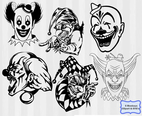 scary clown svg clipart .svg