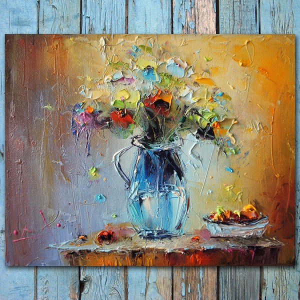 Palette Knife Flowers Oil Painting Colorful Life