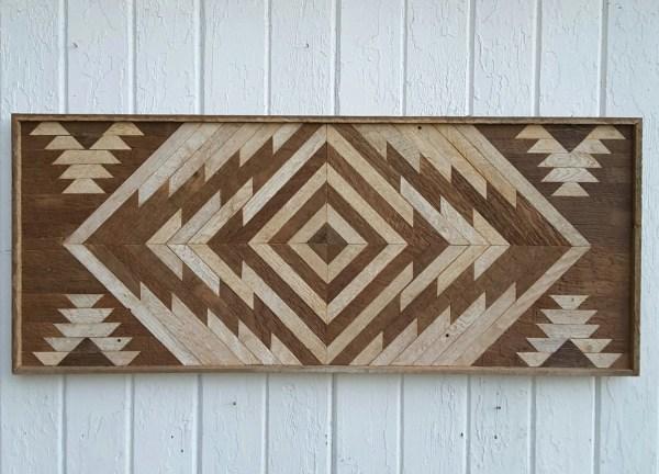 Reclaimed Wood Wall Art Twin Headboard Chevron Design