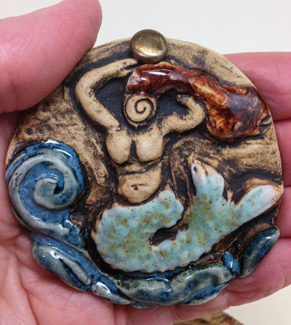 Ceramic Mermaid Wall Hanging Clay Goddess Of Sea