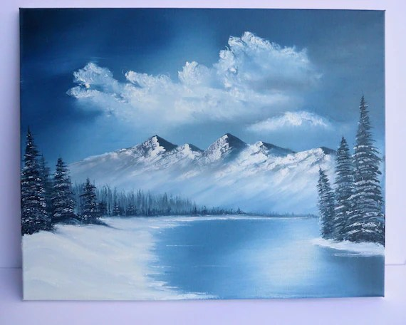 Bob Ross Style Oil Painting Landscape Blue Winter Mountains