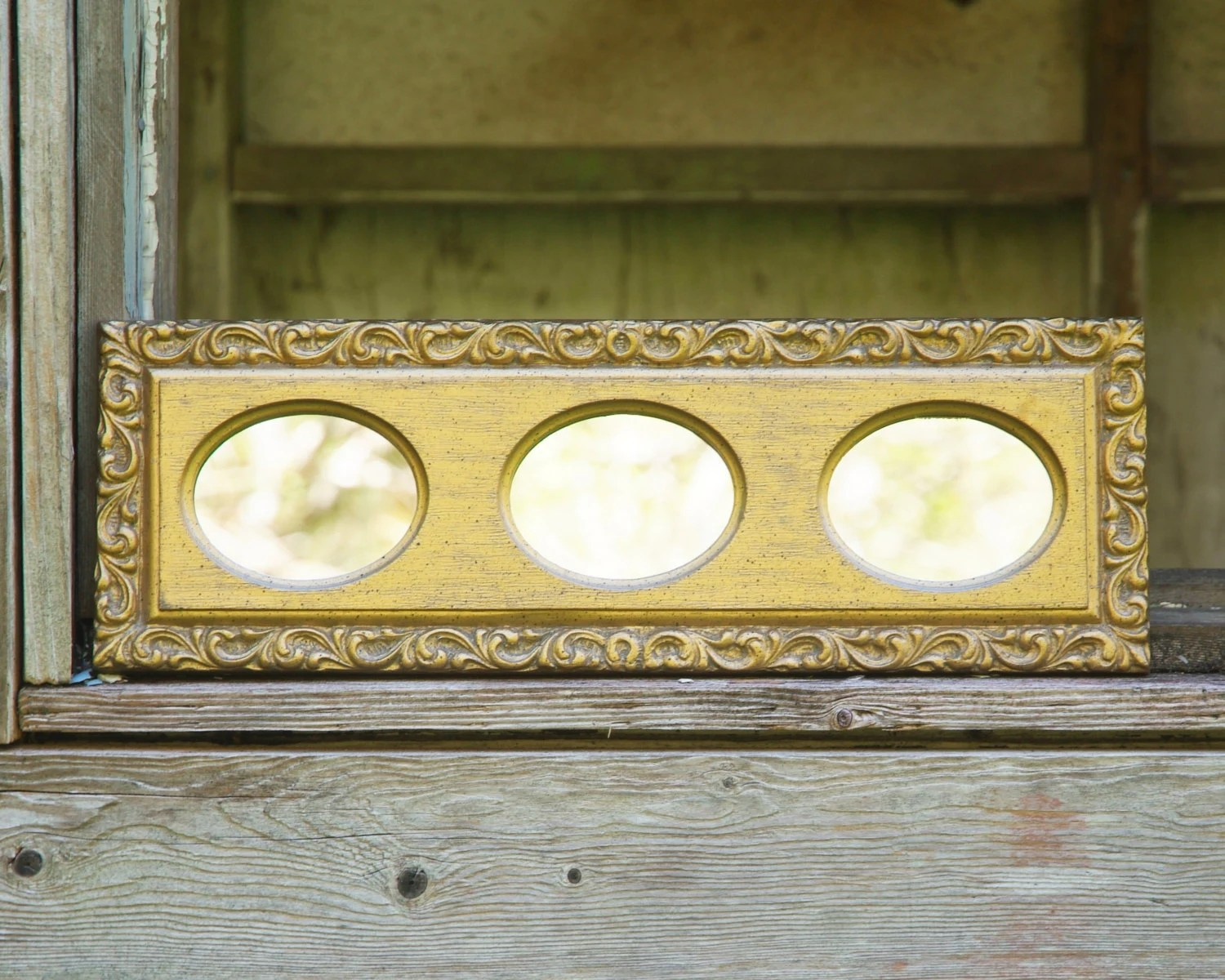 Vintage Gold Framed Mirror Three Small Oval Mirrors In Gold