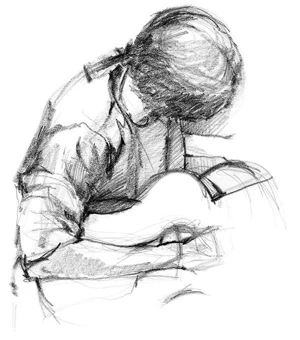 Guitar Player Rock Music Art Work Pencil Drawing of Male
